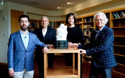 Visual Snow Initiative Presents Neuroscientist Ed Boyden with Váró Brain Sculpture for His Support to Advance a Cure